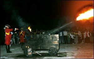 A CANNON BALL FIRING AT NINE